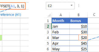 Excel OFFSET formula example